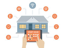 Smart house flat illustration concept. Flat design style modern vector illustration concept of smart house technology system with centralized control of lighting stock illustration