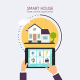 Smart house. Home control application concept. Hand holding tabl Stock Photos