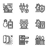 Smart house icon set, outline style royalty free illustration