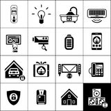 Smart House Icons Black Stock Photos