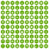 100 smart house icons hexagon green. 100 smart house icons set in green hexagon isolated vector illustration Stock Photography