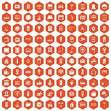 100 smart house icons hexagon orange. 100 smart house icons set in orange hexagon isolated vector illustration Vector Illustration
