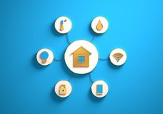 Smart house icons placed in radial disc-shaped slots, blue. Smart house golden icons placed in disc-shaped slots, secondary icons tied with House icon in the royalty free stock images