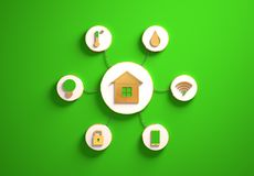 Smart house icons placed in radial disc-shaped slots, green. Smart house golden icons placed in disc-shaped slots, secondary icons tied with House icon in the royalty free stock photos
