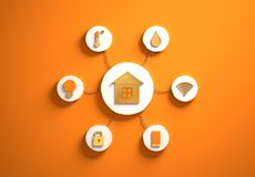 Smart house icons placed in radial disc-shaped slots, orange. Smart house golden icons placed in disc-shaped slots, secondary icons tied with House icon in the royalty free stock photo