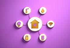 Smart house icons placed in radial disc-shaped slots, purple. Smart house golden icons placed in disc-shaped slots, secondary icons tied with House icon in the royalty free stock images
