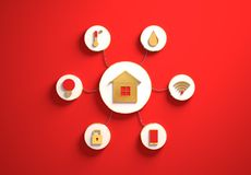 Smart house icons placed in radial disc-shaped slots, red. Smart house golden icons placed in disc-shaped slots, secondary icons tied with House icon in the royalty free stock photo