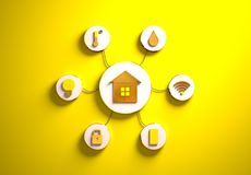 Smart house icons placed in radial disc-shaped slots, yellow. Smart house golden icons placed in disc-shaped slots, secondary icons tied with House icon in the royalty free stock photos