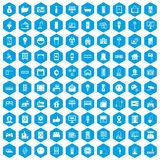 100 smart house icons set blue. 100 smart house icons set in blue hexagon isolated vector illustration Vector Illustration