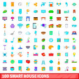 100 smart house icons set, cartoon style Royalty Free Stock Photo