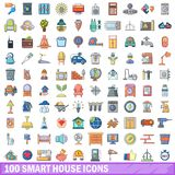 100 smart house icons set, cartoon style Royalty Free Stock Photos