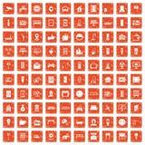 100 smart house icons set grunge orange. 100 smart house icons set in grunge style orange color isolated on white background vector illustration Royalty Free Stock Images