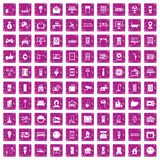 100 smart house icons set grunge pink. 100 smart house icons set in grunge style pink color isolated on white background vector illustration Royalty Free Stock Photo