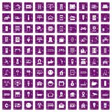 100 smart house icons set grunge purple. 100 smart house icons set in grunge style purple color isolated on white background vector illustration Stock Image