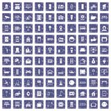100 smart house icons set grunge sapphire. 100 smart house icons set in grunge style sapphire color isolated on white background vector illustration Stock Illustration