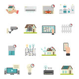 Smart House Icons Set. With heating and conditioning system symbols flat isolated vector illustration royalty free illustration