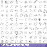100 smart house icons set, outline style Stock Images