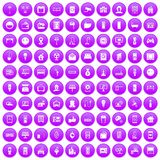 100 smart house icons set purple. 100 smart house icons set in purple circle isolated on white vector illustration Royalty Free Illustration