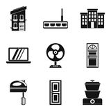 Smart house icons set, simple style. Smart house icons set. Simple set of 9 smart house vector icons for web isolated on white background Royalty Free Illustration