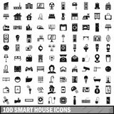 100 smart house icons set in simple style Royalty Free Stock Photo