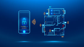 Smart house illustration concept. Mobile phone controls smart home in the distance through app on your smart phone. Shows protection level of the house. cyber Stock Image