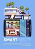 Smart House Interface On Digital Tablet, Modern Technology Of Home Control And Security Concept. Flat Vector Illustration Royalty Free Stock Photography