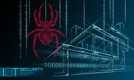 Smart house IOT cybersecurity spider concept. Personal data safety Internet of Things cyber attack. Hacker attack danger. Firewall innovation system vector vector illustration
