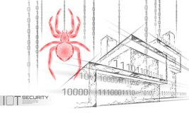 Smart house IOT cybersecurity spider concept. Personal data safety Internet of Things cyber attack. Hacker attack danger. Firewall innovation system vector royalty free illustration