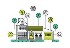 Smart house line style illustration Royalty Free Stock Photo