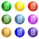 Smart house lock icons set vector stock illustration