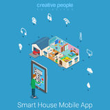 Smart house mobile application technology flat isometric vector Royalty Free Stock Photography