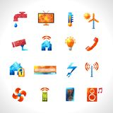 Smart House Polygonal Icons Royalty Free Stock Photo