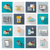Smart House Square Icon Set Stock Photos