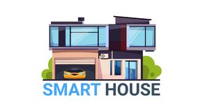Smart House System Automation and Control Technology Modern Home Icon Isolated. Flat Vector Illustration Royalty Free Stock Photography
