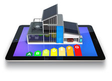 Smart house on a tablet screen. Royalty Free Stock Photography