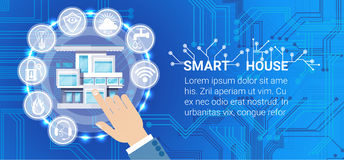 Smart House Technology Control System Icon Infographic With Copy Space. Vector Illustration Stock Photos