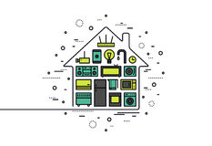 Smart house technology line style illustration Royalty Free Stock Image