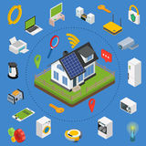 Smart house technology system with centralized control. Royalty Free Stock Photography