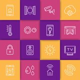 Smart house technology system line icons Stock Photos