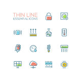 Smart House - Thin Single Line Icons Set Royalty Free Stock Images