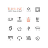 Smart House - Thin Single Line Icons Set Royalty Free Stock Photos