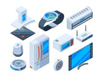 Smart households objects. Home tools with internet technologies electronic security devices control monitor vector royalty free illustration