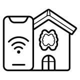 Smart hus, hem- automation, apparat med app-symboler royaltyfri illustrationer