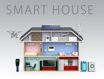 Smart hus med effektiva anordningar för energi Med text stock illustrationer