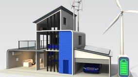 Smart hus med solpanelsystemet vektor illustrationer