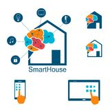 Smart huslogo som automatiseras, radio kontrollerat hus Arkivbilder