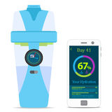 Smart hydrate bottle with filter, smartphone, wireless device. Flat style. Smart hydrate bottle with filter, smartphone, wireless device. Flat  style Stock Photos