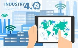 Smart industry 4.0, automation and user interface concept vector illustration