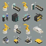 Smart Industry Isometric Icons Set. Smart industry intelligent manufacturing technologies with 3d printing remote controlled automated robots holographic stock illustration
