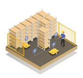 Smart Industry Robots Isometric Composition. Smart industry machine intelligence in manufacturing storage unit isometric composition with computer controlled stock illustration